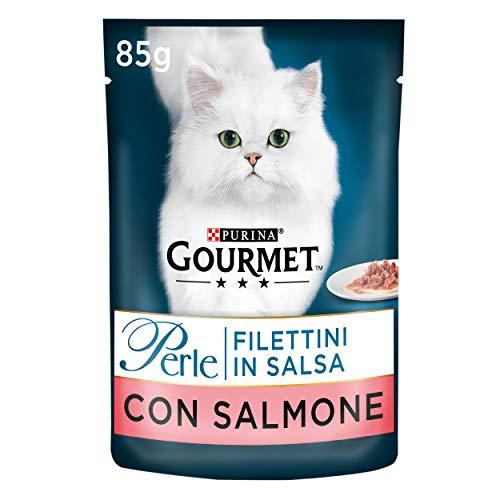 Purina Gourmet Perle Umido Gatto Filettini in Salsa con Salmone, 24 Buste da 85 g Ciascuna, Confezione da 24 x 85 g