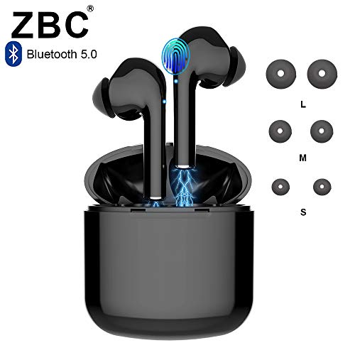 Truly Wireless Bluetooth Earbuds Noise Reduction Headphones Hi-Fi 3D Stereo Sound Built-in Mic Earphones in-Ear TWS Headsets Smart Touch Airpods Portable Charging Case Android iOS Long Playtime