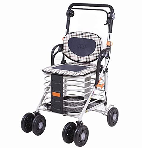 FGVDJ Zusammenklappbarer 4-Rad-Einkaufswagen mit Rollator Walker Höhenverstellbarer Push-Pull-Einkaufswagen Tasche Gepäck Lebensmittelwagen Leichtgewicht