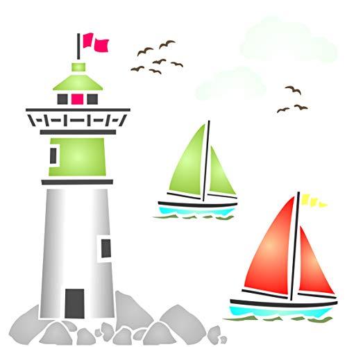 Leuchtturm-Schablone – Wiederverwendbare Schablone Seeozean nautische Segelboot Wolken Wandschablone – Verwendung auf Papierprojekten Scrapbook Bullet Journal Wände Böden Stoff Möbel Glas Holz usw. m