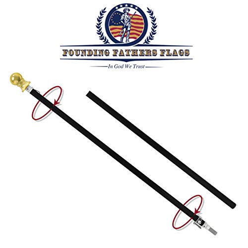 Outdoor Wall Hanging Tangle Free Spinning Flag Pole - Black Label Edition - 6ft Black Pole w/Gold Ball Topper