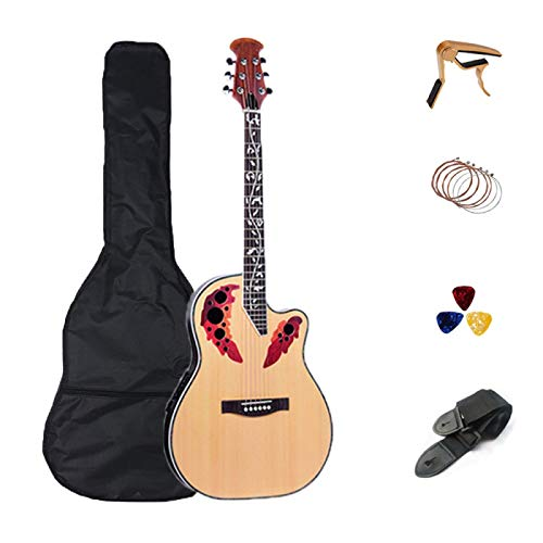 KEPOHK 41 pulgadas acústica guitarra eléctrica de 6 cuerdas Abeto macizo Folk Diapasón de palisandro Crack 41 pulgadas de madera