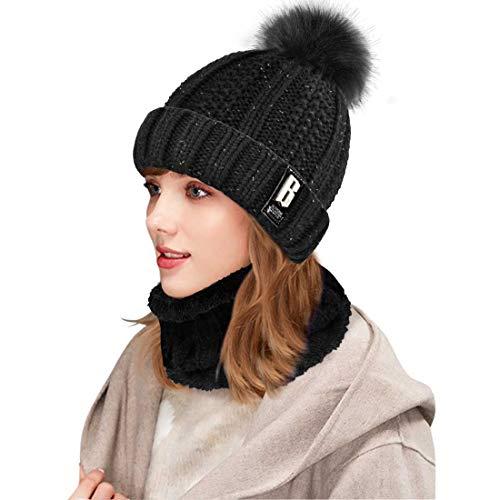 Yuson Girl Conjunto de gorro y bufanda de punto, forro polar de invierno, forro de lana Beanie Hat, calentadores de cuello para mujeres (Negro)