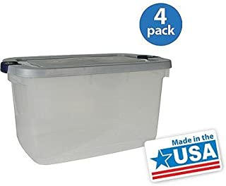 16.5-gallon (66-quart) Roughneck Clears Storage Box, Clear/gray, Set of 4