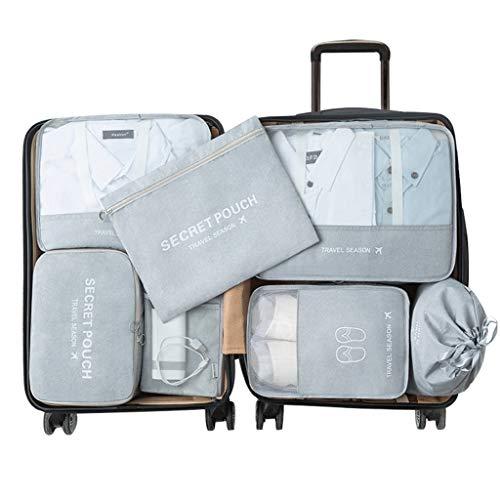 HSKB reistas set bundel organizer tas schoentas reisschoen tassen stofdicht rits schoenenvak stofdichte opbergtas voor overhemden/schoenen/pakbuidel ideaal 7 stuks, grijs (grijs) - JJ-123