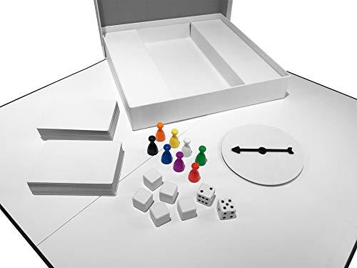 Apostrophe Games Kreieren Sie Ihr eigenes Brettspiel (Leeres Spielbrett, Box & Zubehör) Mit, Spielfiguren, Blanko Karten Blankospinner & Würfel