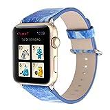 SGKITM - Correa de reloj compatible con Apple Watch 38/40 mm 42/44 mm PU piel auténtica, reemplazable, ajustable, lavable, transpirable, piel de mármol, diseño para iWatch, hombre y mujer azul 38/40mm