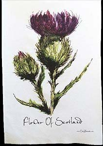 Clare Baird Creations Flower of Scotland Tea Towel in a Scottish Thistle Design