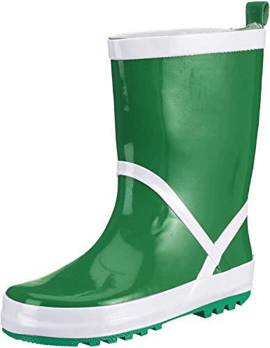 Playshoes Kinder Gummistiefel aus Naturkautschuk, trendige Unisex Regenstiefel mit Reflektoren, Grün (grün 29), 32/33