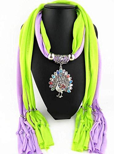 Simplicidad Elegante Colgantes Collares Bufanda Mujeres Aleación de Hierro Pavo Real Acrílico Colgante Bufanda Accesorios Bufanda 180 * 40, W-J, 3