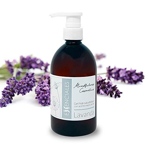 Essenciales - Gel Hidroalcóholico Desinfectante manos con Aceites Esenciales 100% puros (Aceite Esencial Lavanda, 500 ml)