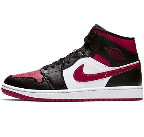 Nike Herren AIR Jordan 1 MID Basketballschuh, Black Noble Red White, 44 EU