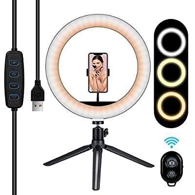 "10"" Ring Light,Selfie ring light with Tripod Stand and Cell Phone Holder,Dimmable Desktop LED Beauty Camera Ringlight for Live Streaming,Tiktok,YouTube,Makeup,Video,Photography(Remote Control Inclued) from marchero technology"