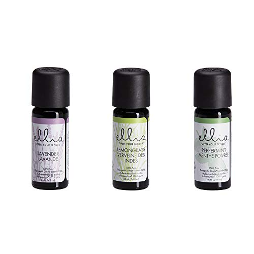 Ellia Diffuser Essential Oil | Peppermint, Lavender, Lemongrass | 10ml 3-pack, 100% Pure, Therapeutic Grade