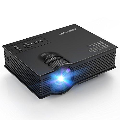 apeman LED Proiettore Multimediale Mini Portatile Videoproiettore 1200 Lumen LCD Cinema Domestico Giochi Video e Progetto Sopporta 1080P HD Video e Ingresso da IR USB SD HDMI (Nero)