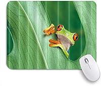 Yaoni ゲーミング マウスパッド,緑の葉の後ろに熱帯赤目アマガエル,マウスパッド レーザー&光学マウス対応 マウスパッド おしゃれ ゲームおよびオフィス用 滑り止め 防水 PC ラップトップ