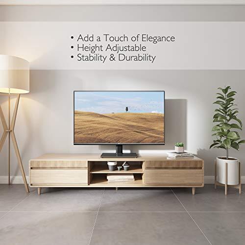BONTEC Pied TV Universel Support TV pour Télévisions de 26 à 55 Pouces LCD/LED/Plasma Hauteur Réglable avec Base en Verre Trempé de 8 mm - Charge Maximal 40kg Max VESA 400x400 mm