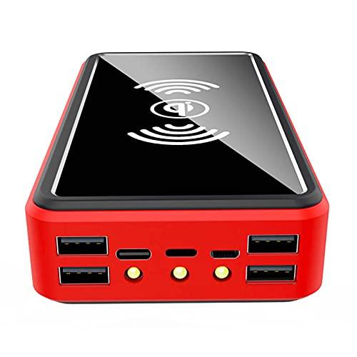 Batería Externa Inalámbrico 50000mAh, 6 Salidas [Carga Inalámbrica PD 15W] Cargador Portátil Solar, Paquete Batería Externa con 4 Entradas Compatible con iPhone Samsung Etc,Rojo