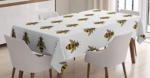 ABAKUHAUS Abeja Mantele, Patrón de Insectos Fabricante de la Miel, Resistente al Agua Lavable Colores No Destiñen Personalizado, 140 x 200 cm, Gris Amarillo