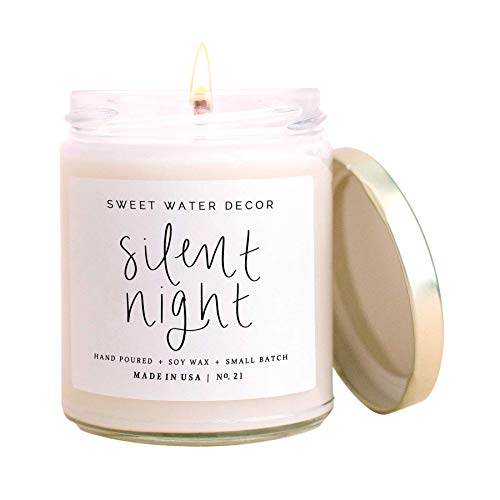 Sweet Water Decor Silent Night Candle | Woodsy, Pine and Birch, Winter Scented Soy Candles for Home | 9oz Clear Glass Jar, 40 Hour Burn Time, Made in the USA