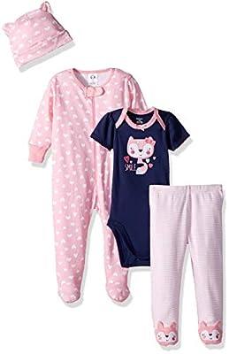 Gerber Baby Girls' 4-Piece Sleep 'N Play, Onesies, Pant and Cap, Fox, Newborn