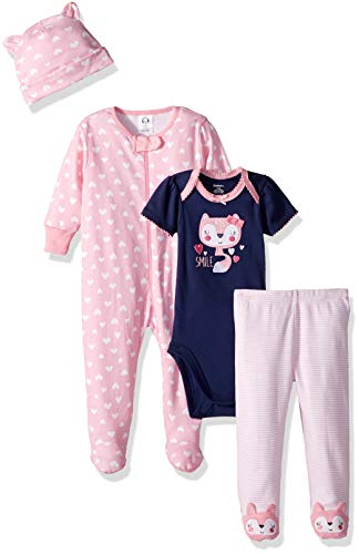 Gerber Baby Girls' 4-Piece Sleep 'N Play, Onesies, Pant and Cap, Fox, Newborn