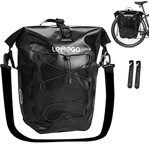 LEMEGO Gepäckträgertasche 27L Hinterradtasche wasserdichte Fahrradtasche Satteltasche Radtasche für Gepäckträger Umhängetasche Radtasche mit 2 Reifenheber & Schultergurt