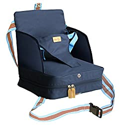 Roba booster seat in blue, mobile inflatable child seat as a booster seat and travel seat, ideal as a high chair for on the go for babies and toddlers