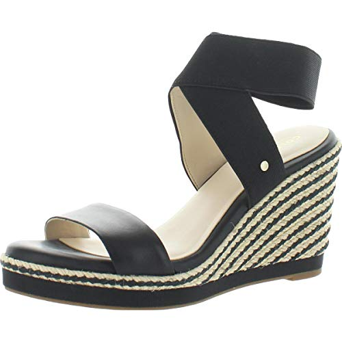 Cole Haan womens Cloudfeel Elastic 90mm Espadrille Wedge Sandal, Black Leather Tonal Stretch Gore Nat Jute With Black Stripe Black Grossgrain, 11 US