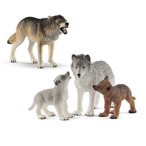 Schleich 14821 Wolf + 42472 Wolfsmutter mit Welpen