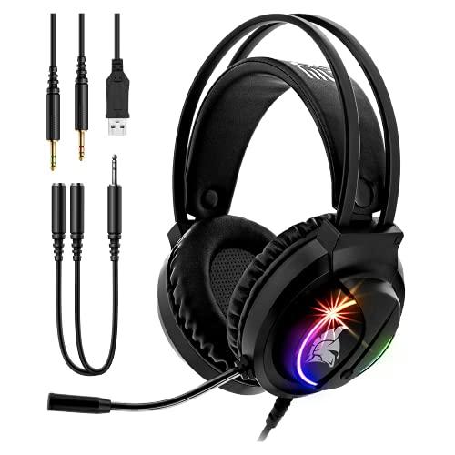 Empire Gaming - Dark Rainbow S-D100 Casco Gamer RGB -Compatible PS4/PS5/Xbox One/Xbox Series/PC/Mac- Sonido estéreo Alta Definición - Mando a Distancia - Micrófono Flexible omnidireccional