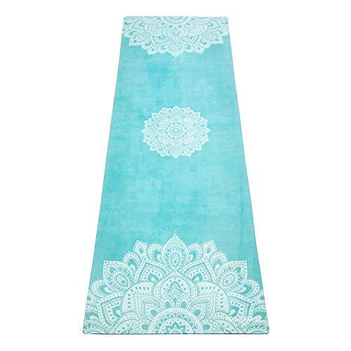 Yoga Design Lab Combo Yogamatte 3,5mm | rutschfest, Matte/Handtuch, Guter Halt bei viel Schweiß, Naturkautschuk | mit Tragegurt (Mandala Turquoise,)