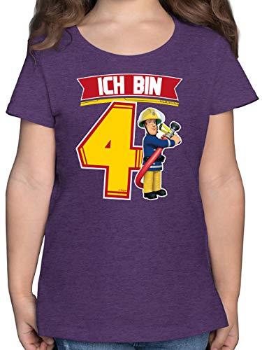 Feuerwehrmann Sam Mädchen - Ich Bin 4 - Sam - 104 (3/4 Jahre) - Lila Meliert - Kindergeburtstag - F131K - Mädchen Kinder T-Shirt
