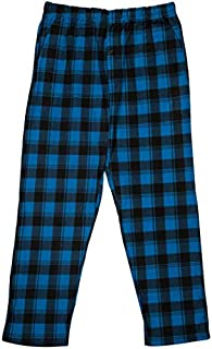 Image of Comfy Fleece Black and Blue Plaid Pajama Pants for Boys - See More Colors