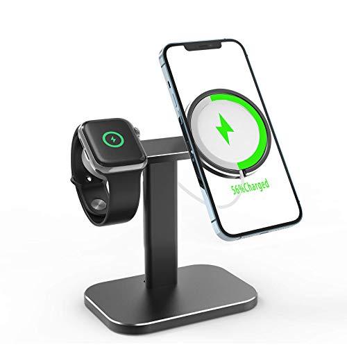 Adecuado para Magsafe iPhone 12 Pro Max Mini Apple Watch Iwatch Magnetic Wireless Charger Charger, 2 1 Soporte de base de carga de carga inalámbrica