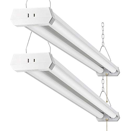 4FT LED Shop Light for garages,4800LM,42W 5000K Daylight White, Linear Worklight Fixture with Plug, with Pull Chain (ON/Off),2Pack 50K