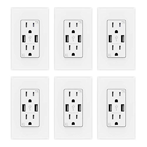 ELEGRP USB Charger Wall Outlet, Dual High Speed 3.6 Amp USB Ports, 15 Amp Duplex Tamper Resistant Receptacle Plug NEMA 5-15R, Wall Plate Included, UL Listed (6 Pack, Glossy White)