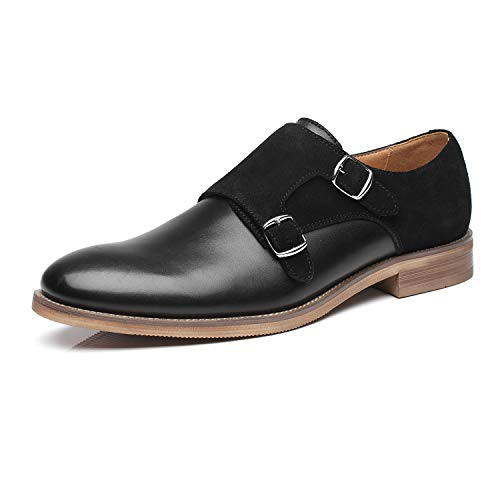 La Milano Patina Collection Leather and Suede Double Monk Strap Dress Shoe