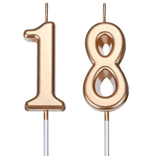 Velas de Cumpleaños de 18 Años Velas de Número de Pastel Velas de Torta de Feliz Cumpleaños Decoración de Tarta para Celebración de Aniversario Cumpleaños Boda (Dorado Champagne)