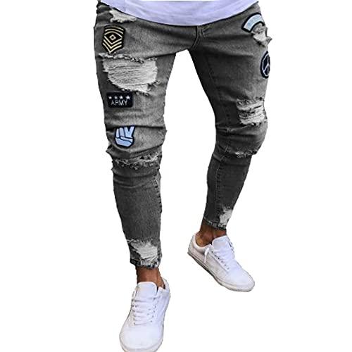 Pantalones Viejos Ajustados Hombres, Pantalones Vaqueros Ajustados con Parche ArtíStico, Pantalones Ajustados...