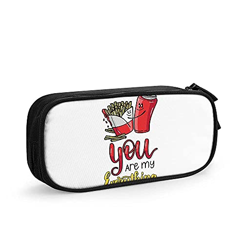 Estuche Fries and Ketchup in Love - You are My Everything. Valentine's Day. Food Happy Couples Big Capacity Pencil Case Pouch Pen Boxes for Girls Boys Supplies for College Students Middle High School