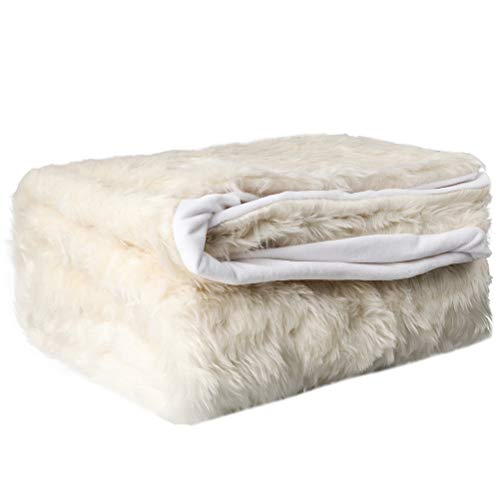 LAOZI - Manta de pelo largo sintético, suave, cálida, elegante, acogedora y mullida para sofá, cama y sillón (blanca, 150 x 200 cm)