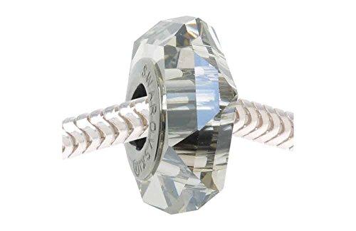 17 Charm Swarovski para Pulseras Tipo Pandora, dijes Swarovski abalorio Becharmed Cristal Acero Inoxidable 14x4,5mm (Silver Shade)