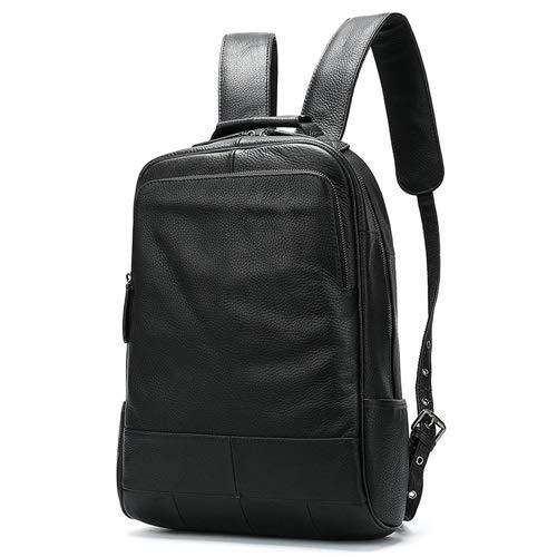 T-ara The New Real Leather Men's Backpack Men's Laptop Bacpack For Men Schoolbag Travel Leather Satchel Men's Designer Shoulder Bag Essential for hiking (Color : 4black, Size : 14 inches)