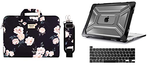 MOSISO Heavy Duty Plastic Hard Shell with TPU Bumper & Shoulder Bag with Trolley Belt Compatible with 2019 Release MacBook Pro 16 inch A2141 with Touch Bar & Touch ID