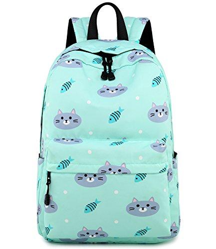 Abshoo Cute Lightweight Cat Backpacks Girls School Bags Kids Bookbags (Cat Blue)