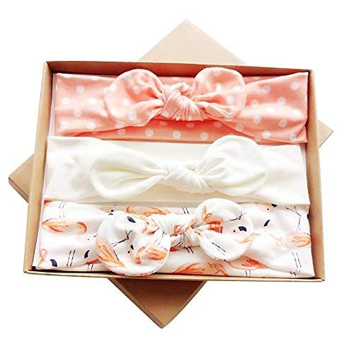 Chilits - 3 diademas de bebé, aros para el pelo, ajustables, turbante suave, diadema de flores para recién nacidos, niñas, bebés, niños pequeños, accesorios para el pelo Rosa rosa claro