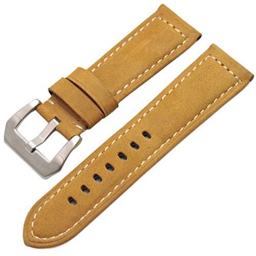 HNGM Correa Reloj Cuero 22 mm 24 mm Strap de la Vendimia Hecha a Mano de los Hombres de la Correa Suave de los Hombres con la Hebilla de Plata (Band Color : Yellow Silver Buckle)