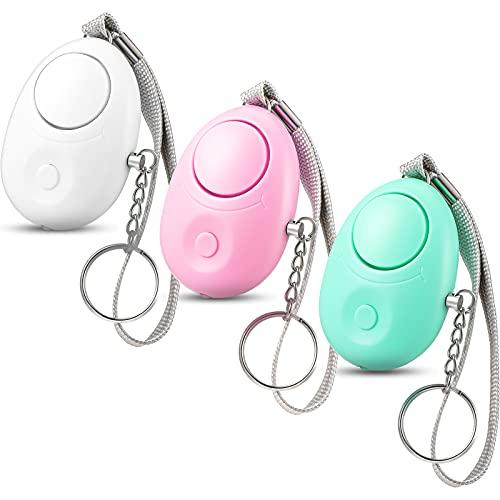 Alarma Personal 3 Llaveros de Alarma de Seguridad 120 db Aprobado por Policía Equipado con Luces LED, Alarma de Seguridad Personal Pequeña Reutilizable Portátil para Niñas Mujeres Mayores