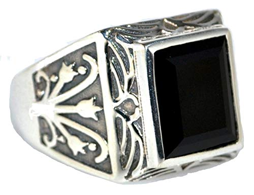 Mens Solid Sterling 925 Silver Black Onyx Signet Ring, Authentic Gemstone Antique Style Gents Jewellery (N)